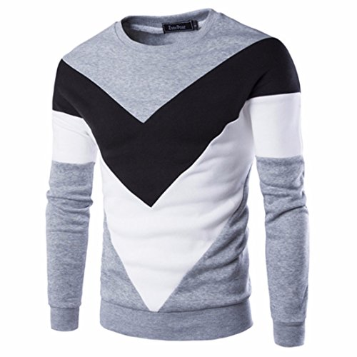 Men's Patchwork Slim Fit O-Neck Pullovers Casual Sweatshirt Lt Gray