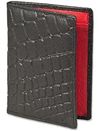 Présentation cas / carte de crédit pour 6 cartes de crédit et 4 passes de doux, de veau traitée intérieur - Rouge - Rimbaldi extérieur croco noir