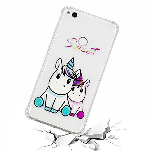 KM-Panda kompatibel mit Huawei P10 Lite Hülle Kawaii Einhorn Ultra Slim Dünn Silikon Bumper Etui Durchsichtig Tasche Schutzhülle Handyhülle Transparent mit Muster Stoßfest