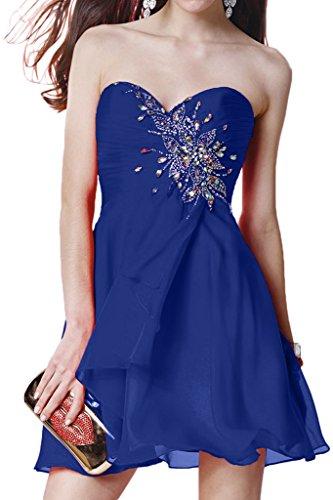 Promgirl House Damen Chic Chiffon A-Linie Herz-Ausschnitt Cocktail Party Ballkleider Abendkleider Kurz Royalblau
