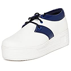 1 WALK MAPPLE COLLECTION ORIGINAL COMFORTABLE STYLISH WOMEN SHOES /SNEAKERS/COLLEGE WEAR/2018 LATEST COLLECTION/PARTY WEAR/CASUAL WEAR/WEEDING WEAR-White::Blue-M50D-36