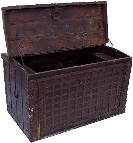 Guru-Shop Große Indische Hochzeitztruhe, Braun, Teakholz, 72x118x70 cm, Truhen, Kisten, Koffer