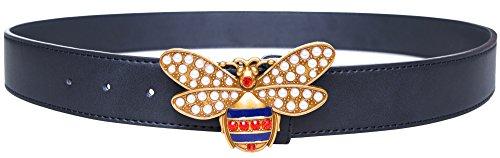 Women Big Bee Buckle Design 36-mm Italian Leather Belt