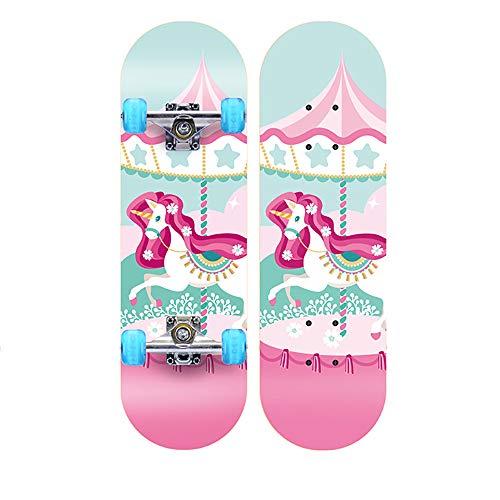 WHTBOX Kinderskateboards/Skateboard Kinder ab 5 Jahre,Stabilen Deck,Retro,Verschiedene Designs,Hohe Qualit,Geschenk FüR Erwachsene Jugendliche Kinder Jungen,Pink-B -