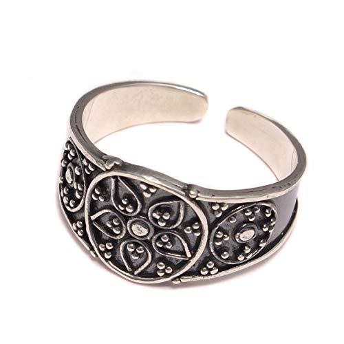 Zehenring Blumen Ornament 925 Sterling Silber, Zehen Ring Fußschmuck, Fuß Schmuck offen anpassbar, Hippie boho Fuß Ring