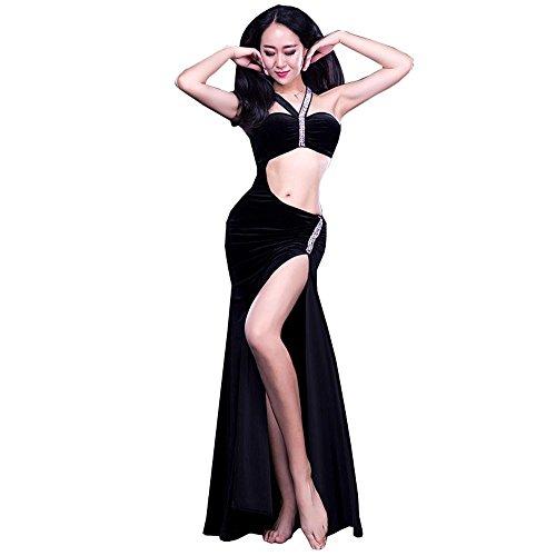 Frauen Indien Bauch Dance üben Kleidung samt Diamond modern kurz ärmel Kleid Leistung kostüm Black ()