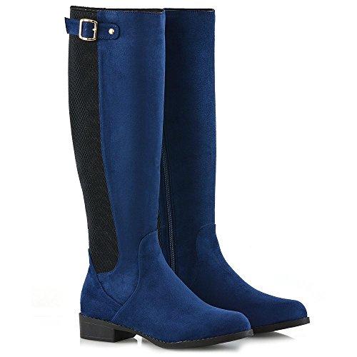 ESSEX GLAM Donna Stivali Alti Al Ginocchio Tacco Basso Casuale Stivali Da Equitazione Azzurro Finto Scamosciato