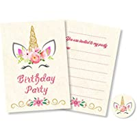 12 x Unicorn Birthday Party Invitations with optional Pink Envelopes + Stickers