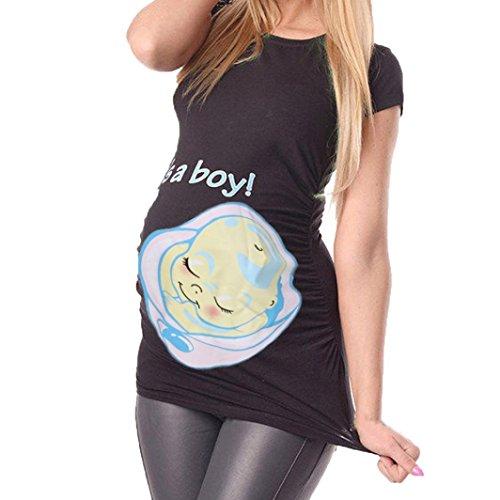 ღmaglietta per l'allattamento elegante - feixiang® allattamento camicia da notte per donna ღ camicie e casacche da premaman camicia da donna per maternità (nero, xl)