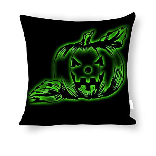 Dartys Pillow Cover Pumpkin Light Lantern Jack Attribute Halloween Baumwolle und Leinen Pillowcase Klassische Mode Streifen Bunte 18×18 Zoll Kissen