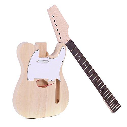 ammoon DIY Guitarra Estilo Tele Inconcluso Kit de Bricolaje de la Guitarra Eléctrica Cuerpo de Tilo Cuello de Arce Palisandro