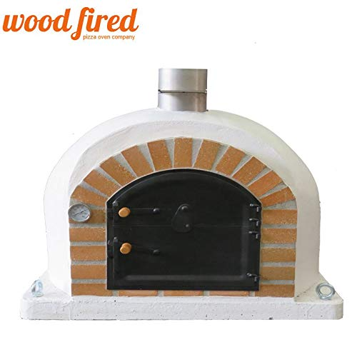 White Sovereign Clay Lined Wood Fired Pizza Oven Black, 90cm