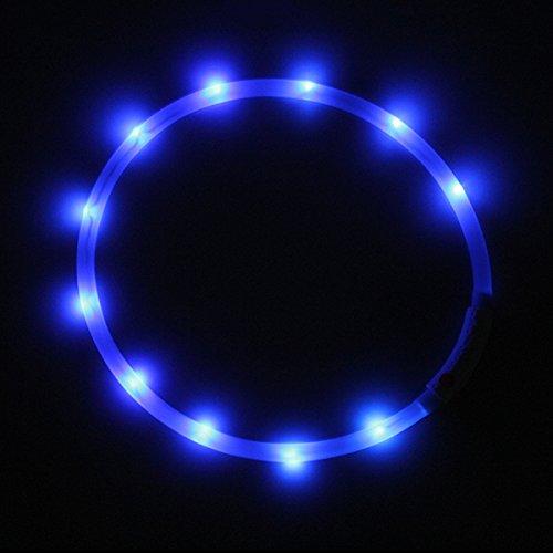 LED USB Halsband Silikon Hundehalsband Leuchthalsband für Hunde Haustier Katzen aufladbar per USB (Größe S-L auf 18-65 cm individuell kürzbar) in blau von der Marke PRECORN - 5