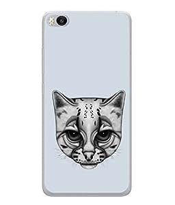 Fuson Designer Back Case Cover for Xiaomi Mi 5 :: Redmi Mi5 (cat cat face White cat Dull Looking cat Blue)