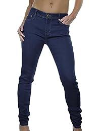 ICE (1395) Jeans Filiforme en Denim Bleu, Doux, Brillant et Extensible, Taille Moyenne