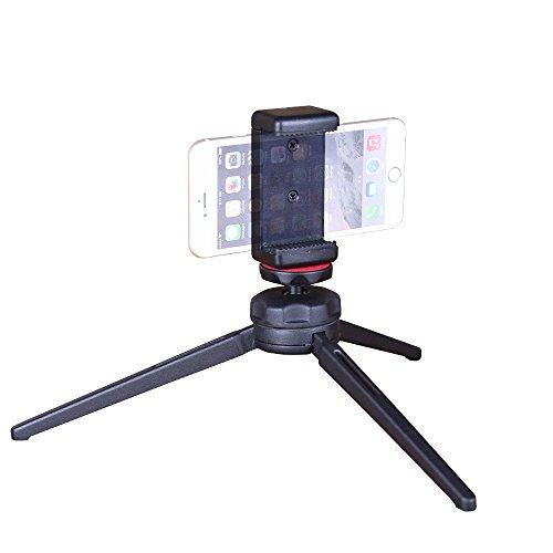 Mini Stativ Telefon-CAMBOFOTO Mini-Stativ mit Kopf Kugelkopf, Schreibtisch-Stativ mit Handy-Adapter für iPhone, Smartphones, Reflex-Kameras, etc (Reflex-kamera)