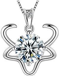 e400ee576111 Aurora Tears Plata de Ley 925 12 Signo del Zodiaco Cristal Constelación Collar  Colgante 12 Horóscopo