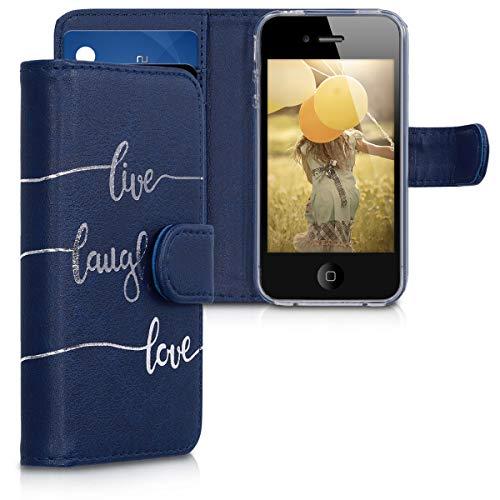 kwmobile Apple iPhone 4 / 4S Hülle - Kunstleder Wallet Case für Apple iPhone 4 / 4S mit Kartenfächern und Stand - Iphone 4s Telefon-abdeckungen