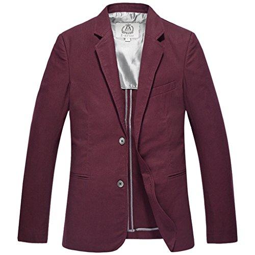 E-artist Homme 2 Boutons Lin Coton Blazer Veston X09 Rouge (Wine Red)