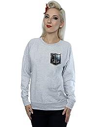DC Comics Women's Justice League Movie Shield Faux Pocket Sweatshirt
