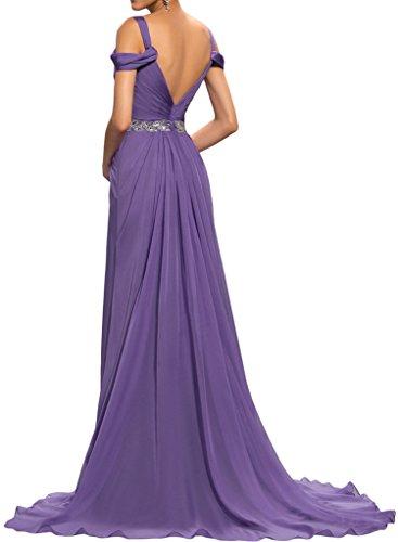 Sunvary Damen Chiffon Meerjungfrau Traeger Applikation Abendkleider Lang Partykleider Lila