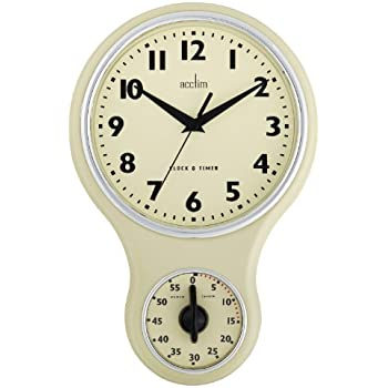 Acctim 21592 Kitchen Time Wall Clock Cream Amazoncouk Kitchen