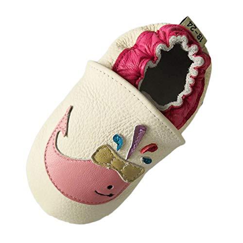 LSERVER Weiche Sohle Babyschuhe Erster Schritt Crawlen Schuhe Unisex-Baby 0-2 Jahre alt Laufschuhe und Krabbelschuhe, Rosa Delphin, 12-18 Monate