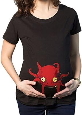 JYR de maternidad de las mujeres Echar un vistazo pulpo divertida del embarazo camisetas calientes de regalos que vende camisas - Marr¨®n