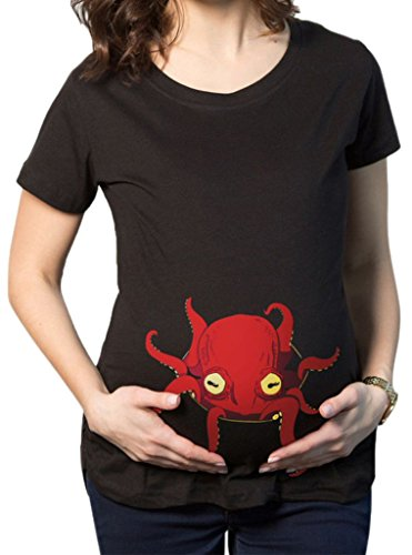 Maternité Peeking Octopus drôle Grossesse T-Shirts Hot Shirts cadeaux de vente de JYR femmes - Brown brown