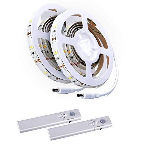 Aled Light 2 Stück LED Lichtband Lichtschlauch Kit, Band Licht Treppe Nacht Stufe Lichtband mit Bewegunsmelder - Schublade Montage-kit