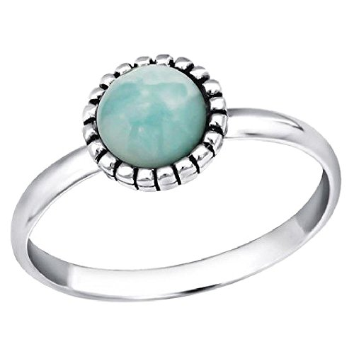 So chic gioielli - anello da falange midi ring rotondo amazonite argento sterling 925