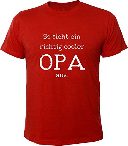 Mister Merchandise Witziges Herren Männer T-Shirt Großvater Grandad So Sieht ein Richtig Cooler Opa Aus, Größe: XL, Farbe: Rot