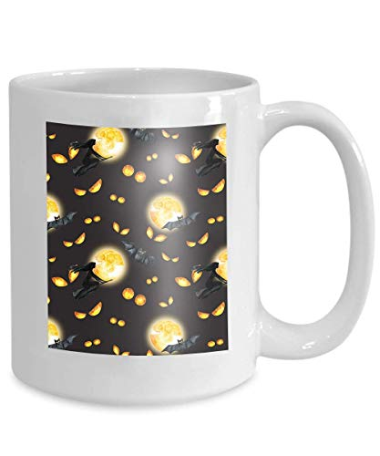 Mug Coffee Tea Cup Happy Halloween Background Evil Eyes Full Moon Flying Witch Watercolor Horror Night Party 110z (Friends-halloween-party Happy Tree)
