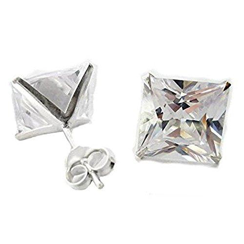 Joyas de hombre de plata de ley de 5 mm corte de la princesa diamante cuadrado de Zirconia cúbico (CZ) pendiente del perno prisionero (solo)- estilo Beckham