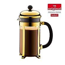 BODUM Chambord 8 Cup French Press Coffee Maker, Gold, 1.0 l, 34 oz