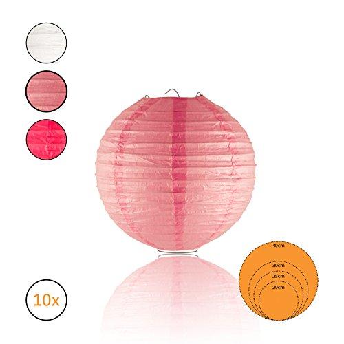 Amazy Papierlaternen (10er Set) inkl. Metallaufhängung – Die wunderschönen Lampions eignen sich ideal für eine festliche Dekoration im Innen- oder Außenbereich (Ø 20 cm | Rosa)