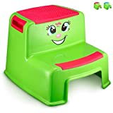 Smiley Face Toddler Step Stool - Hot Pink Girls' Dual Height Toilet Potty Training - Kids Two-Step Stool - Cute Design For Use In Bathroom And Kitchen - Lightweight - By Toddle Doo