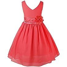 IEFIEL Vestido Elegante de Fiesta Ceremonia para Niñas Tutu Princesa Vestido de Flores Boda Gala Elegante