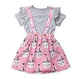 REALIKE Kinder Baby Mädchen 1PC Tops+1PC Kleid Mode Rüschen Kurzarm Blusen Elegant Kaninchen-Muster Taste Sling Mini Kleid Sommerkleid Prinzessin Ostern Kleidung