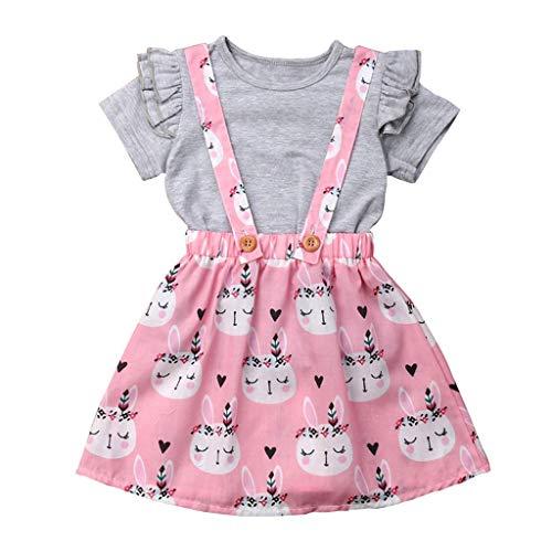 REALIKE Kinder Baby Mädchen 1PC Tops+1PC Kleid Mode Rüschen Kurzarm Blusen Elegant Kaninchen-Muster Taste Sling Mini Kleid Sommerkleid Prinzessin Ostern ()