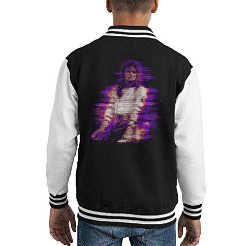 Michael Jackson Bad World Tour 1988 Purple Flare Kid's Varsity Jacket (Kids Für Jackson-jacke Michael)