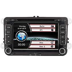 "Voiture GPS Stéréo avec Navigation, Eunavi 7 ""2din Lecteur DVD de voiture pour VW PASSAT B6 GOLF 6 POLO PASSATCC JETTA TIGUAN TOURAN EOS SHARAN SCIROCCO CADDY HD avec GPS Carte Sat Navi Bluetooth"