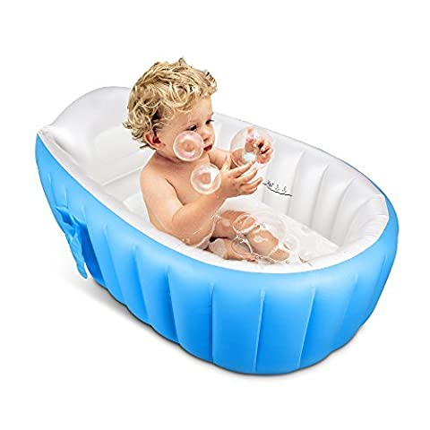 Inflatable Baby Bathtub,IWILCS Portable Mini Air Swimming Pool Kid Infant Toddler Thick Foldable Shower Basin with Soft Cushion Central Seat
