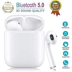 Kunge Oreillette Bluetooth 5.0, oreillette sans Fil, Microphone intégré et boîte de Chargement, réduction du Bruit 3D HD stéréo pour Casques Apple Airpods Android/iPhone/Samsung