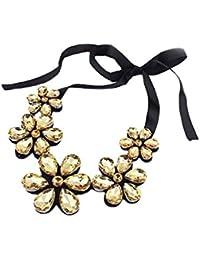 Collar - SODIAL(R)Moda exquisito Collar de babero encantado de cinta floral -Dorado
