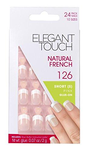 Elegante Toque Natural francés Nails Número 126, Pequeño / Rosa