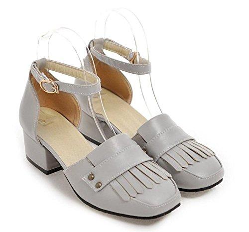 Das Wort Riemchensandalen Quaste weibliches College Wind dick mit Sandalen weibliche Sommer Sandalen Grey