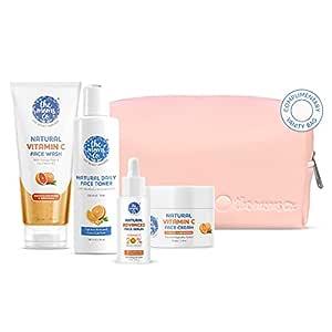 The Moms Co. Natural Brightening Advanced Vitamin C Complete Face Care Routine Kit l l Face Wash I Toner I Serum I Cream l Free Vanity Bag I 300 gms
