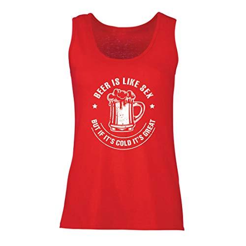 lepni.me Damen Tank-Top Bier ist wie Sex, Aber wenn es kalt ist, ist es toll, Humorvolles Geschenk (XX-Large Rot Mehrfarben)