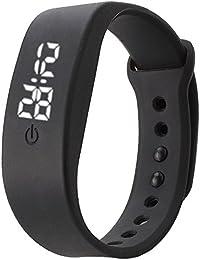 Vovotrade deporte hombres impermeables mujeres corriendo de goma de silicona blanco LED fecha pulsera Digital reloj (Negro)